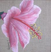 """""""Hibiscus rose"""" - acrylique - 20 x 20 cm"""