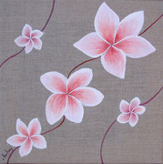 """""""Frangipanier rose"""" - acrylique - 30 x 30 cm"""