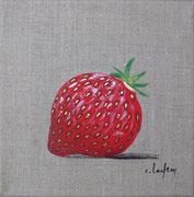 """""""Fraise"""" - acrylique - 20 x 20 cm"""
