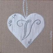 """""""Coeur monogramme V"""" - acrylique - 20 x 20 cm"""