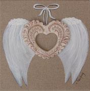 """""""Coeur d'ange"""" - acrylique, céramique - 50 x 50 cm"""