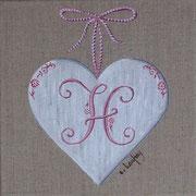 """""""Coeur monogramme H"""" - acrylique - 20 x 20 cm"""