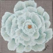 """""""Pivoine vert chartreuse"""" - acrylique - 20 x 20 cm"""