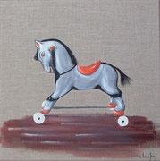 """""""Cheval à roulettes"""" - acrylique - 30 x 30 cm"""