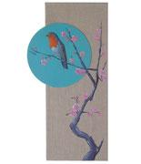 """""""Rouge-gorge au cerisier"""" - acrylique - tableau mixte 25 x 50 cm"""