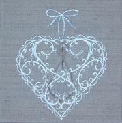 """""""Coeur pampille"""" - acrylique, pampille de verre - 20 x 20 cm"""