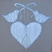 """""""Coeur aux oiseaux"""" - acrylique, pampille de verre - 20 x 20 cm"""