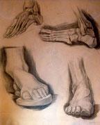 Fußstudien, Bleistift auf Papier, 40x50