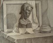 Stillleben mit Holzbüste, Bleistift auf Papier, 40x50