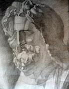 Gipskopf Zeus, Bleistift auf Papier, 40x50