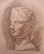 Gipskopf, Bleistift auf Papier, 40x50