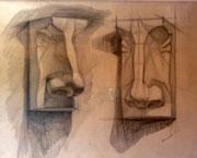Gipsmodell, Nase, Bleistift auf Papier, 40x50