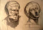 Zwei Gipsköpfe, Bleistift auf Papier, 40x55