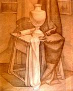 Stillleben mit Vase, Bleistift auf Papier, 40x50