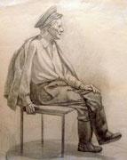 Alter Mann, Bleistift auf Papier, 40x50