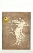 2016, Radierung, Aquatinta und Acryl auf Papier, 14,5x19,5, Manches sein / Badeente