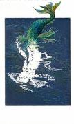 2016, Radierung, Aquatinta und Acryl auf Papier, 14,5x19,5, / Manches sein / Nixe