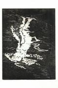 2015, Radierung, Aquatinta und Acryl auf Papier, 14,5x19,5, Manches sein / Spiegelung
