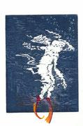 2016, Radierung, Aquatinta und Acryl auf Papier, 14,5x19,5, Manches sein / Taucher