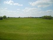 Blick von Grün zurück auf das 17. Fairway