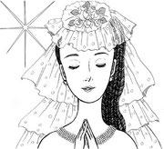 ペン画 「花嫁」
