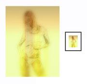 Posing Maya - Einrahmung Rahmenfarbe: Lack,schwarz, Präsentationsvariante: Büttenpapier, matt, Passepartout Farbe: Weiß, Glas: Mirogard, Museumsglas,Rahmenprofil: rundes Profil, 25mm, Masse 31x40,7cm Gal. ID:854