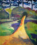 Chemin jaune, 2013, acrylique sur carton, 38 x 46 cm