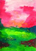 Prairie au ciel rouge, 2014, acrylique sur papier, 21 x 29 cm, coll. particulière.  VENDUE / SOLD