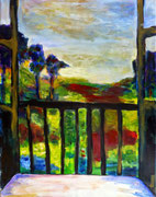 Vue de la fenêtre, 2015,  acrylique sur toile, 50 x 64 cm
