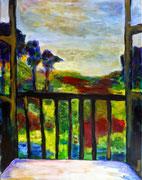 Vue de la fenêtre, 2015,  acrylique sur toile, 50 x 64 cm.