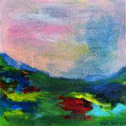 Paysage au ciel rose, 2016, acrylique sur carton entoilé, 20 x 20 cm