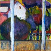 Vue de la fenêtre -Nogent sur-Marne, 2016, acrylique sur toile, 50 x 50 cm