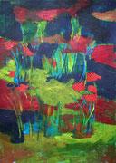 Bout de jardin, 2014, acrylique sur papier, 21 x 29,7 cm