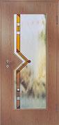 GW-TPF1    Türenscheibe mit Pfeilausschnitt+bernsteinfarbenem Streifen