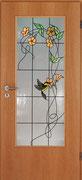 GW-22   Ornamentscheibe mit Blüten und Vogel