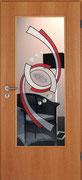 GW-47rot    Türglas mit Fusingelement und Glaslinsen