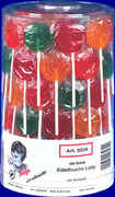 Fruit Lolly, 4 different flavours, 100 pcs/jar