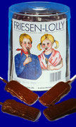 Friesen-Lolly, (choco coated, with salmiac-pastilles, unwrapped), 80 pcs/jar