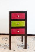 meuble d'appoint - tiroirs en cuir touareg - patine naturelle suie et kaolin