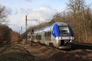 Forêt de Fontainebleau. 31 janvier 2010. B 81773-81774. Train 891160 Auxerre-Saint-Gervais - Paris-Bercy. Cliché Pierre BAZIN