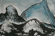 Landschaftserinnerung Berge II, Acryl und Tusche auf Papier, ca. 10x15cm, Sandra Hosol