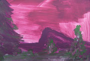 Landschaftserinnerung Sonnenuntergang III, Acryl auf Papier, ca. 10x15cm, Sandra Hosol