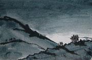 Landschaftserinnerung Berge III, Acryl und Tusche auf Papier, ca. 10x15cm, Sandra Hosol