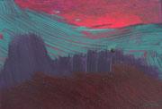 Landschaftserinnerung Sonnenuntergang I, Acryl auf Papier, ca. 10x15cm, Sandra Hosol
