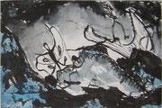 Landschaftserinnerung Berge I, Acryl und Tusche auf Papier, ca. 10x15cm, Sandra Hosol