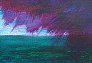 Landschaftserinnerung Sonnenuntergang II, Acryl auf Papier, ca. 10x15cm, Sandra Hosol