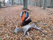 2011-11-12, 11:15, Utzenhain (D): Hirschkalb mit 51kg aufgebrochen bei einem Riegler erlegt, ca. 50m mit .30-06, 11,7g Federal Power Shok