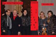 Le Père Elie WARDE, Antoine SAFAR, TRIXIE, Marina RISTIC, une amie serbe