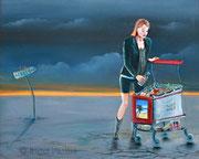 Shopping (2012), 50 x 40 cm, Öl auf Holz