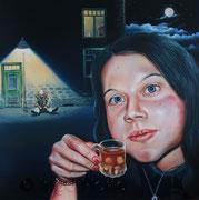 Auf das Leben (2012), 80 x 80 cm, Öl auf Leinwand